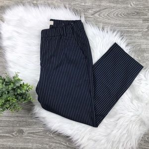 Ann Taylor LOFT Navy & White Striped Crop Size 6